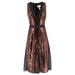 Erdem Bronze Sheer Panelled Sequin A-Line Dress SIZE S