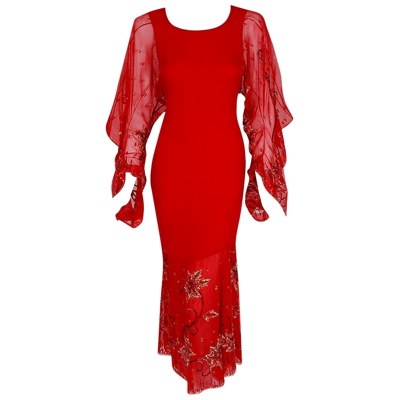 Vintage 2003 Christian Dior Haute-Couture Red Beaded Silk Kimono Sleeve Dress
