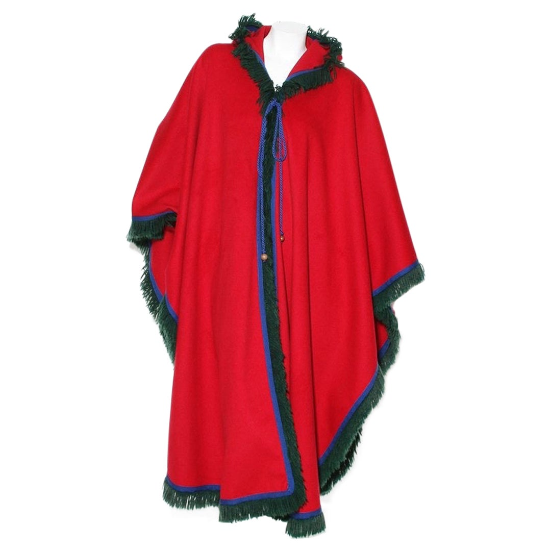 YSL Hooded Wool Cape