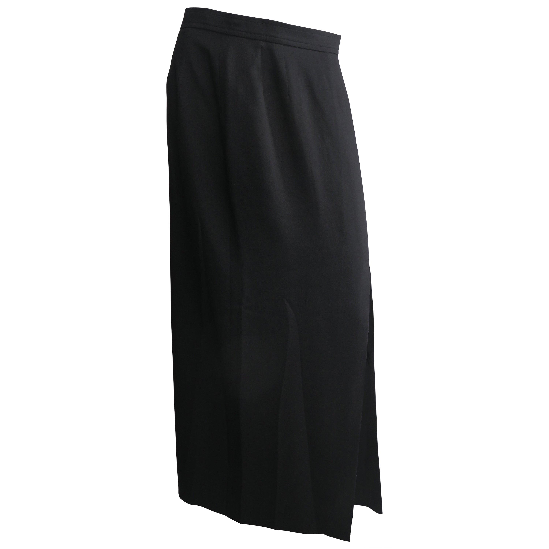 Yves Saint Laurent Size 46 Black Silk Maxi Skirt