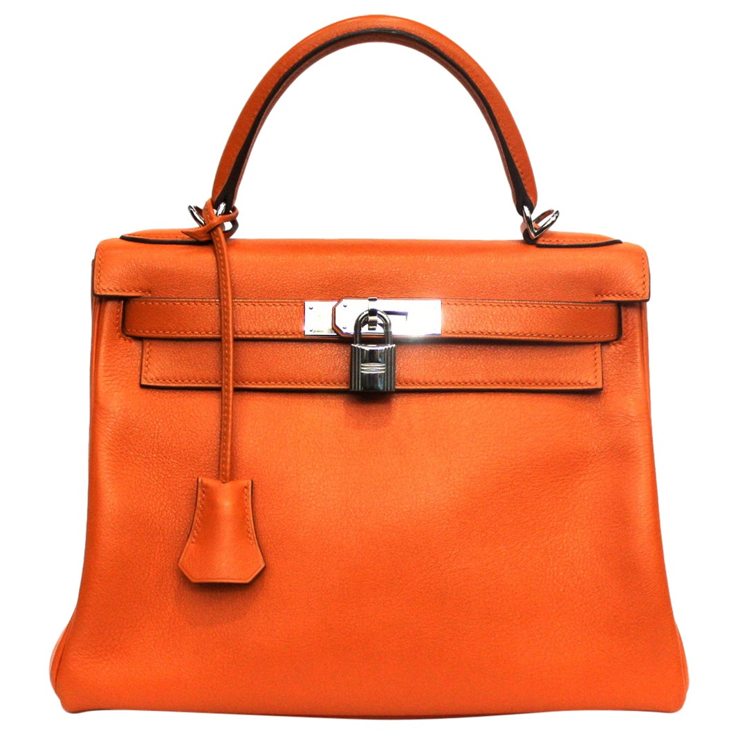2006 Hermès Orange Leather Kelly 28 Bag