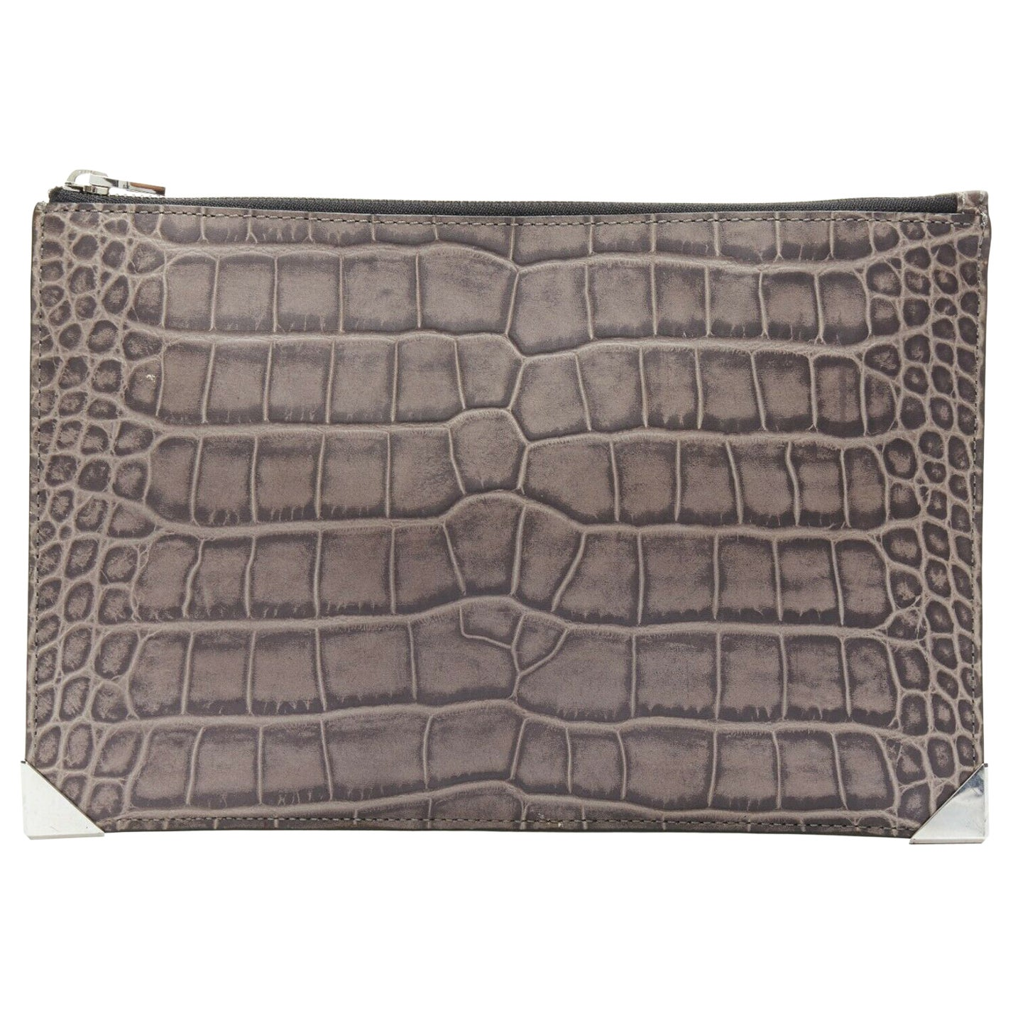 ALEXANDER WANG Prisma clutch leather alligator embossed silver hardware wallet