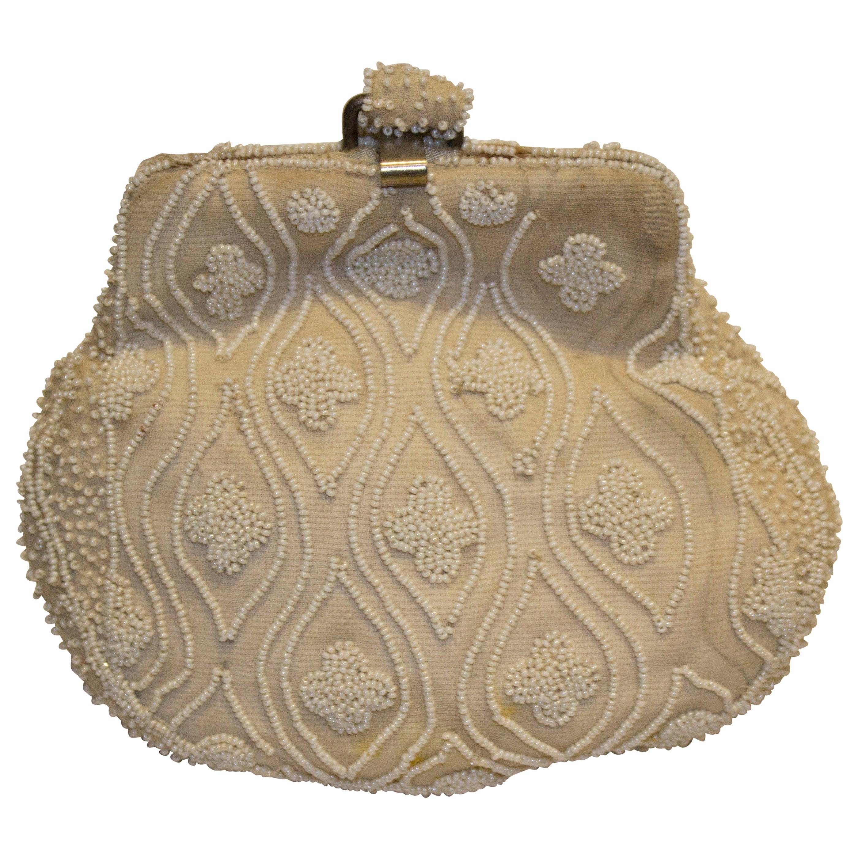 Vintage Silver Metallic Mesh Bags Light Green Draw String French