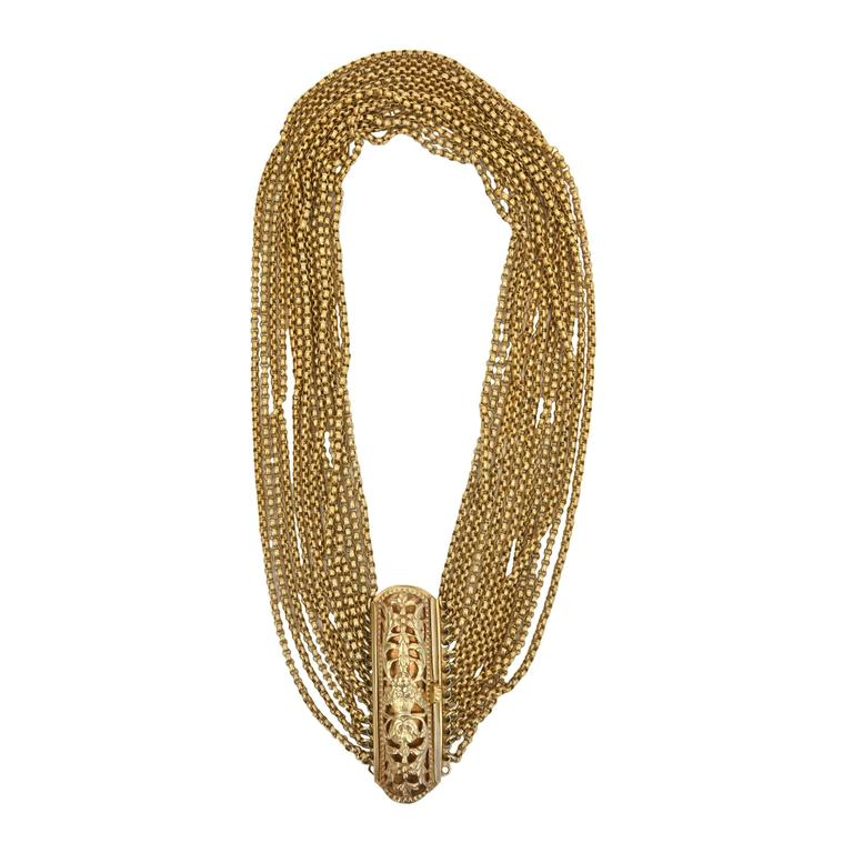 Gold Wash over Sterling Silver  Link Beaded Strand Necklace with Egyptian Clasp 1