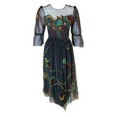 1977 Zandra Rhodes Couture Beaded Hand-Painted Illusion Silk Chiffon Dress