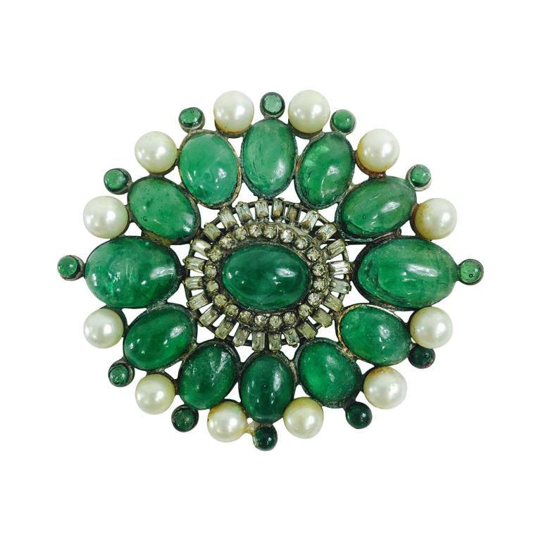 Chanel rare early signed large Gripoix emerald brooch 1950s 1