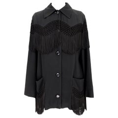 Moschino Couture Black Fringe Country Western Jacket 1980s
