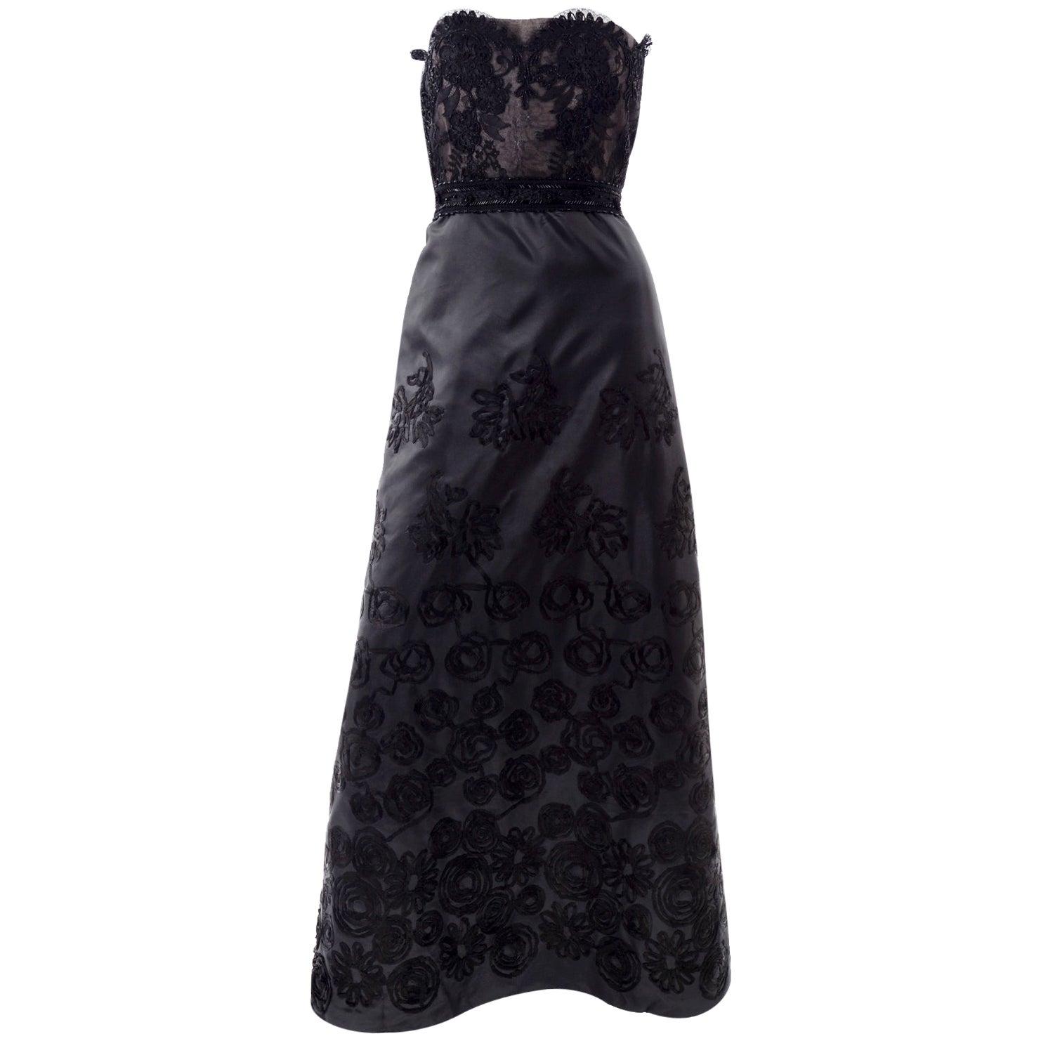 1990s Christian Lacroix Vintage Black Lace & Satin Strapless Evening Dress