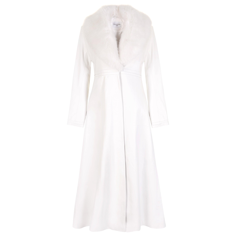 Verheyen London Edward Leather Coat in White with Faux Fur
