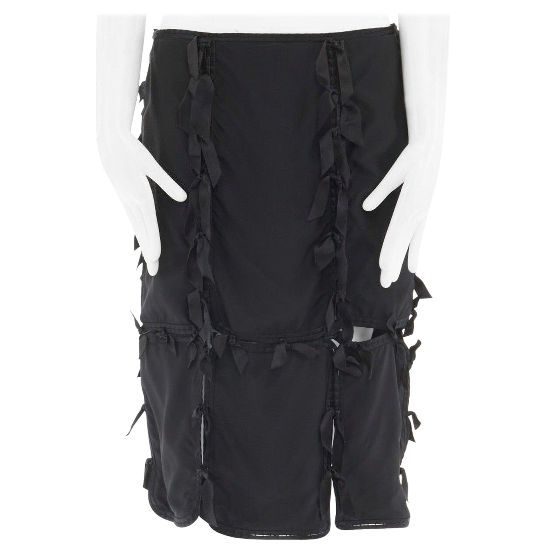 """runway YVES SAINT LAURENT TOM FORD black silk ribbon embellished skirt M 31"""""""