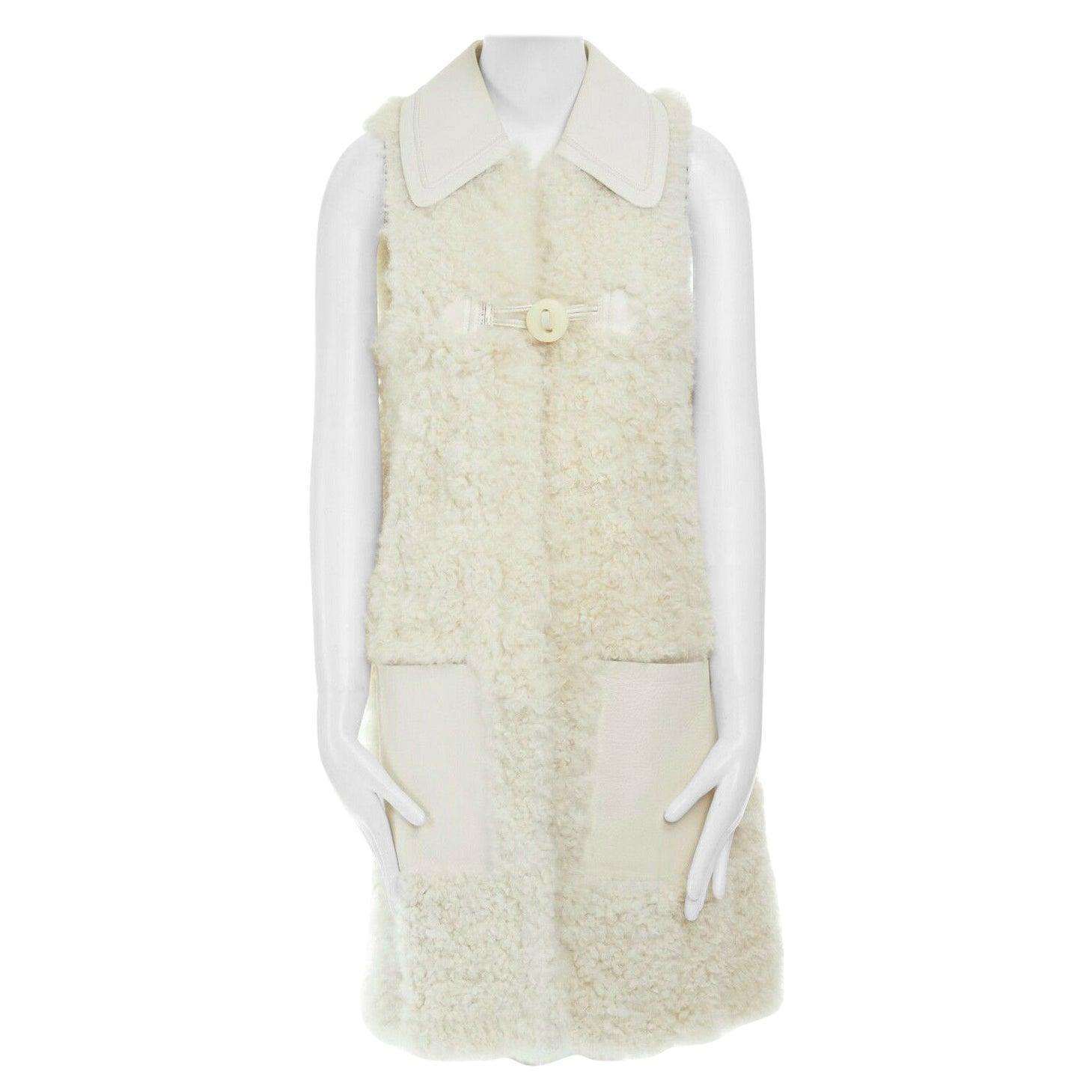 runway FENDI shearling fur white leather collar patch pocket vest jacket IT40 S
