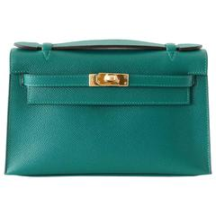 Hermes Kelly Pochette Clutch Bag Emerald Toned Malachite Epsom Gold