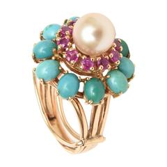 Pearl, Ruby, Turquoise and 14K Dome Vintage Cocktail Ring