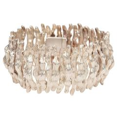 Sculptural Sterling Silver Hallmarked, Textural Cuff Bracelet