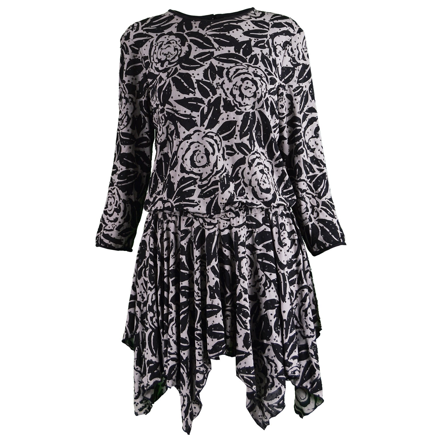 Terence Nolder Silk & Sequins Grey Black Handkerchief Vintage Party Tunic Dress