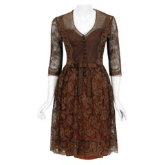 Vintage 1955 Maggy Rouff Haute Couture Brown Sheer Illusion Chantilly Lace Dress