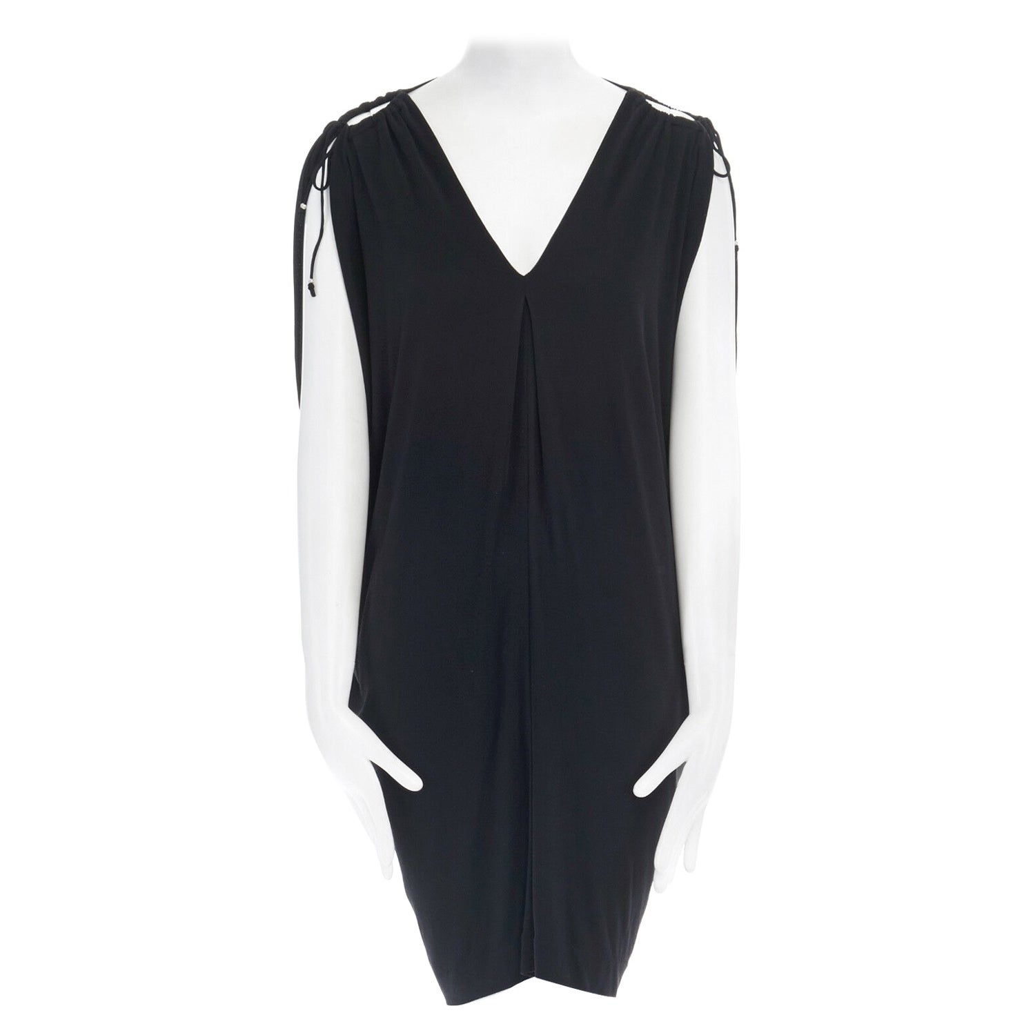 DIANE VON FUSTENBERG black grecian draped cold shoulder sleeveless dress US4 S