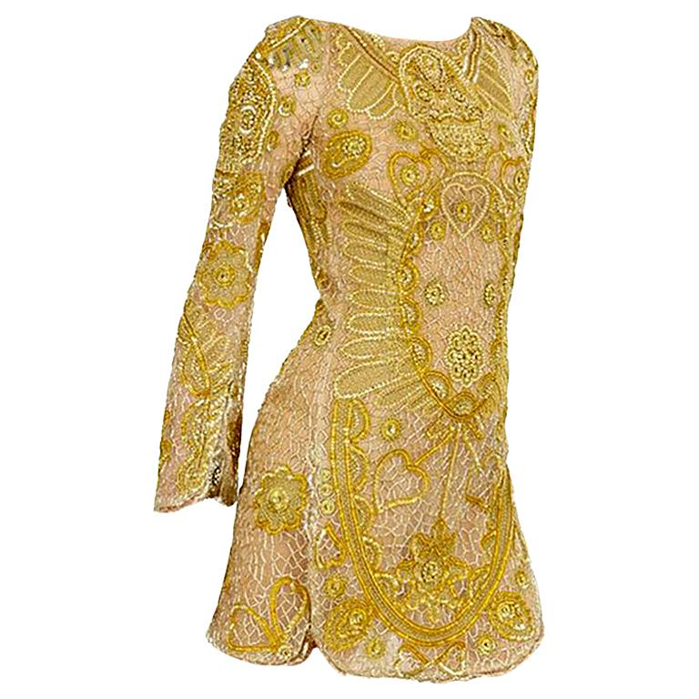 Emilio Pucci Embellished Gold Silk Tulle Dress  For Sale