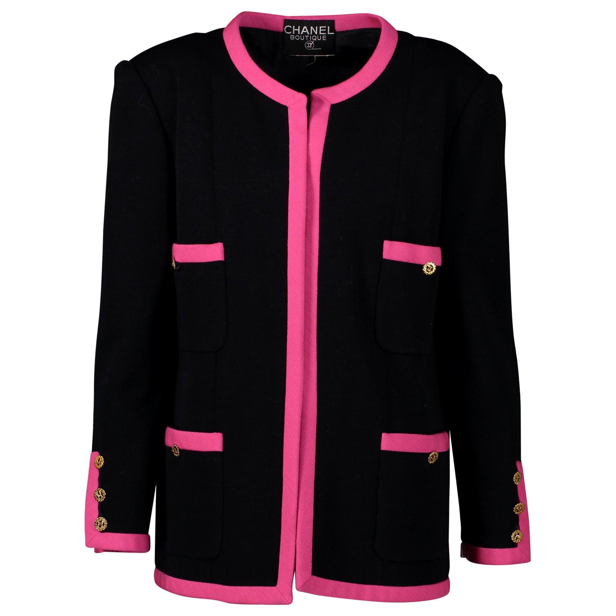 Chanel Black Pink Trim Jacket