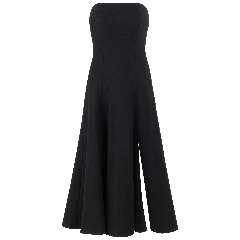 ATELIER VERSACE 1999 Black Strapless Boned A-line Front Slit Dress