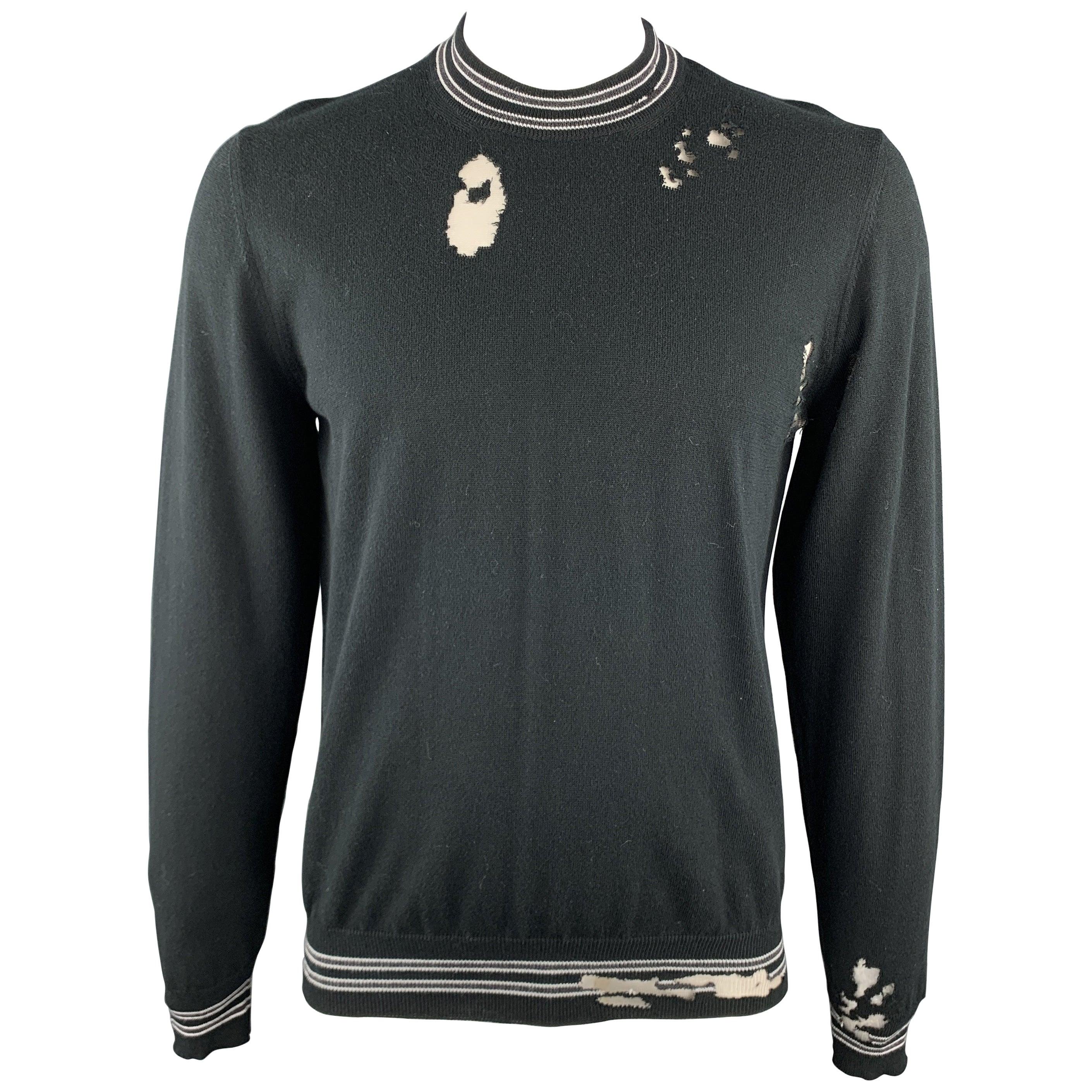 MAISON MARGIELA Size L Black Distressed Cotton Blend Contrast Stripe Pullover