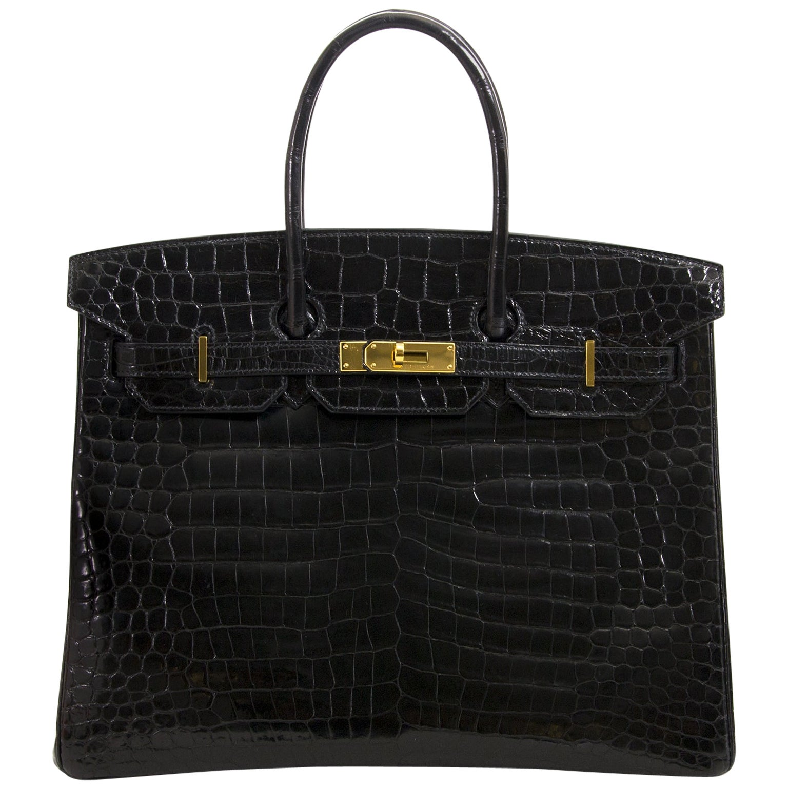 Hermès Birkin 35 Crocodile Porosus Black GHW