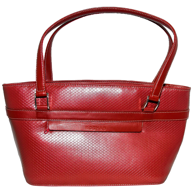 Rochas Red Brick Color Embossed Top Handle Tote Bag