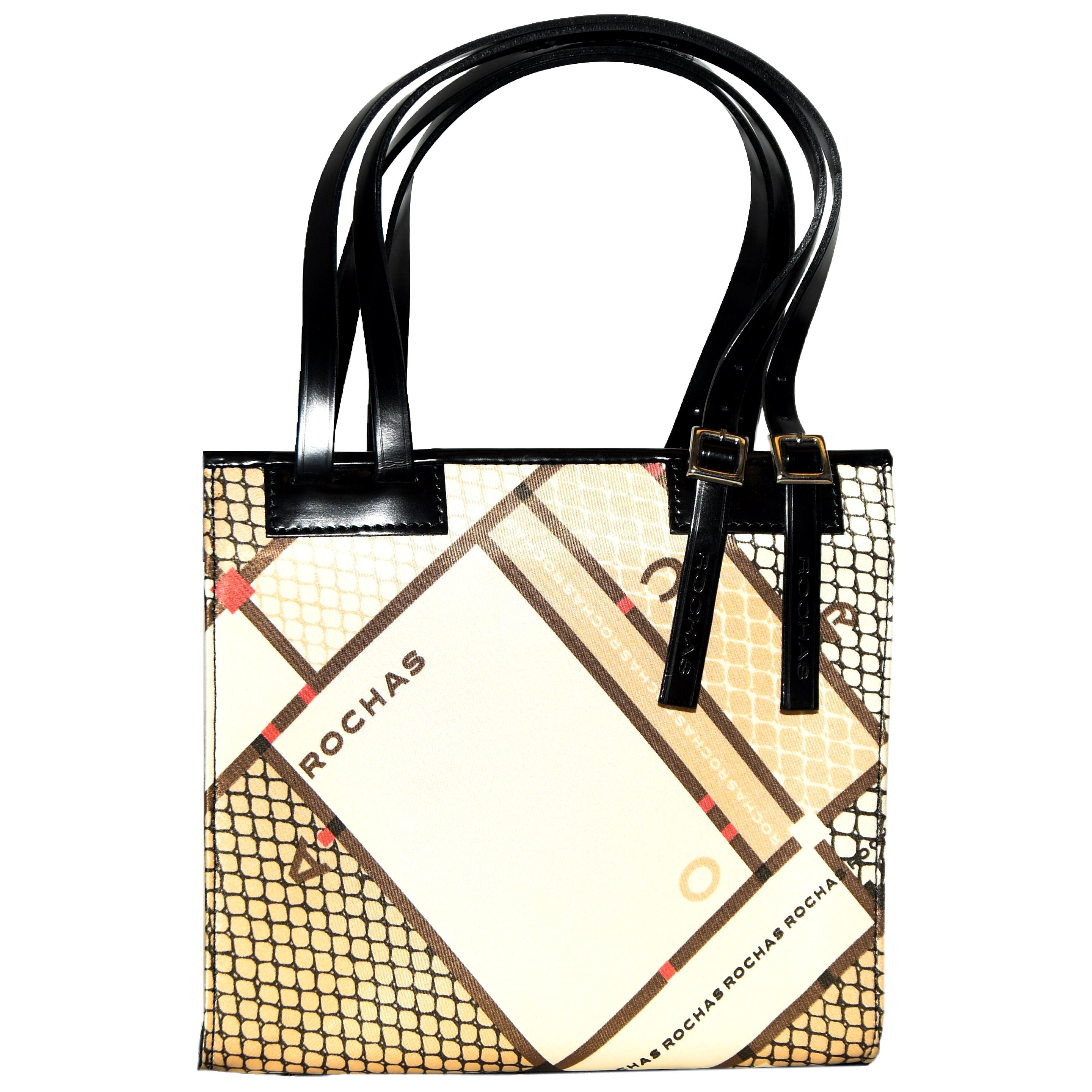 Rochas Black Leather and Silk Multi Exterior Top Handle Bag