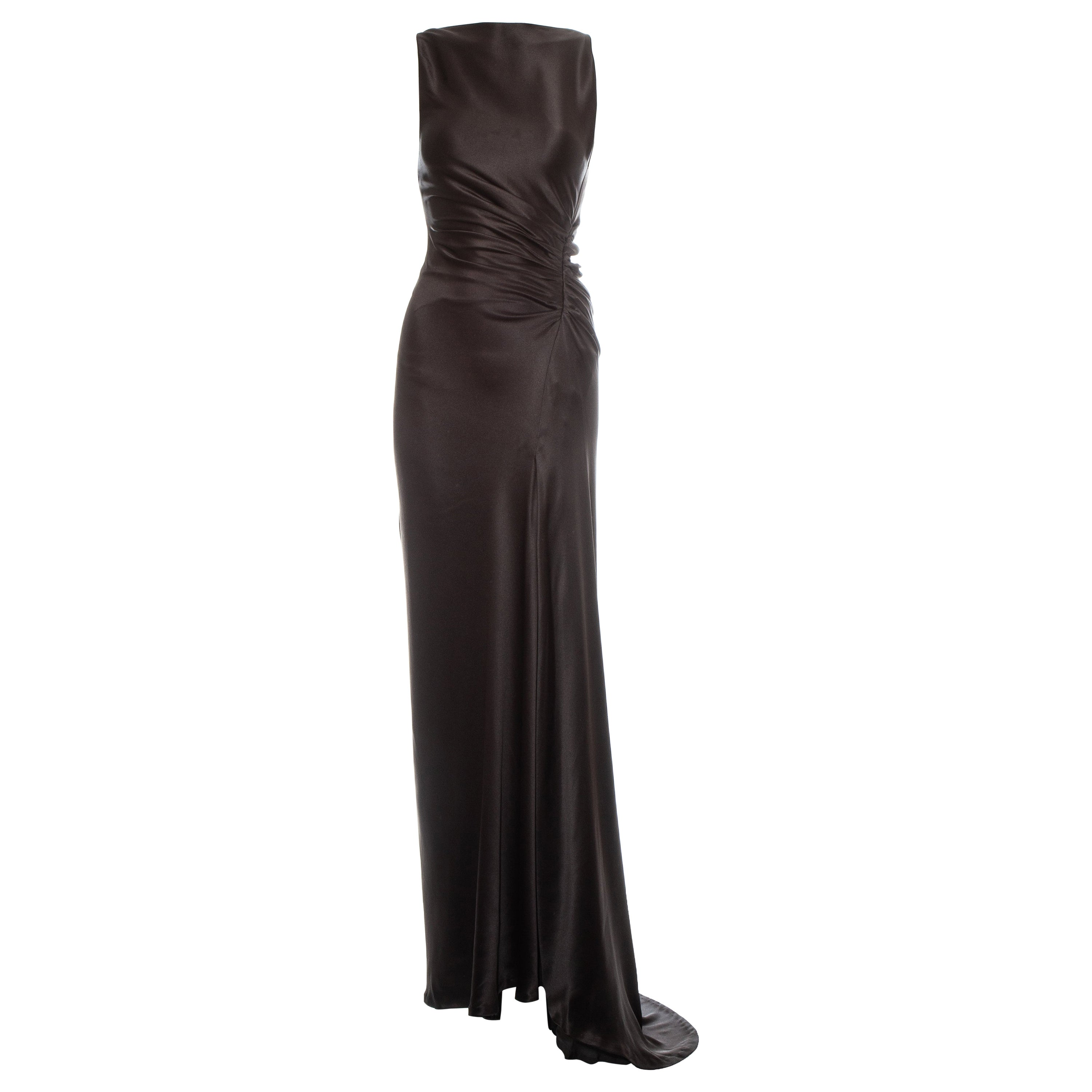 Gucci by Tom Ford brown ruched silk evening dress, fw 1999
