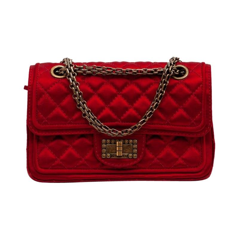 CHANEL Paris-Shanghai Red Silk Satin Bag