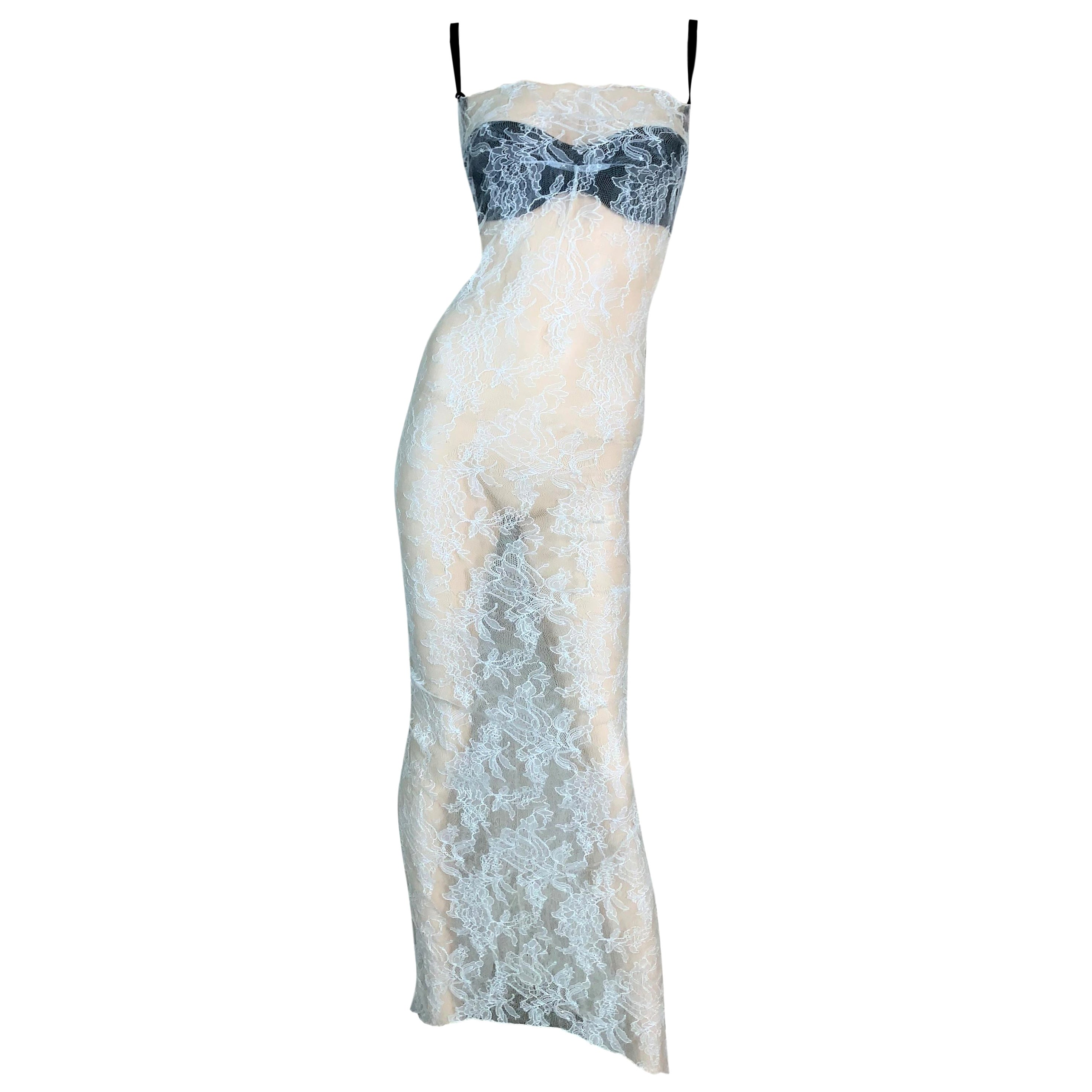 1997 Dolce & Gabbana Sheer Ivory Lace Gown Dress w Black Bra & Train
