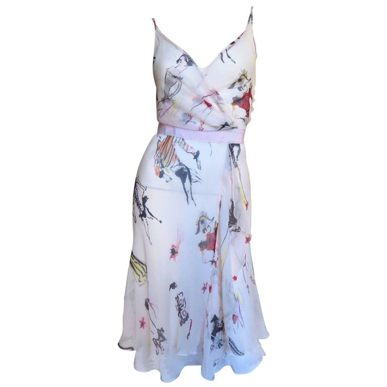 Moschino Wrap Slip Dress With Sketches of Costumers 1