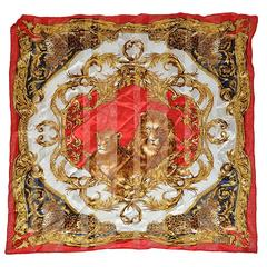 "Gianfranco Ferre Multi-Color ""Lion Couple"" Silk & Silk Chiffon Scarf"