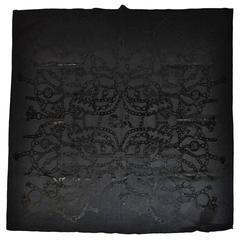 Yohji Yamamoto Black Silk Jersey Multi-Pattern Scarf