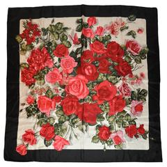 """Hiroko for Dozo of Japan """"Boutique of Roses"""" Silk Scarf"""