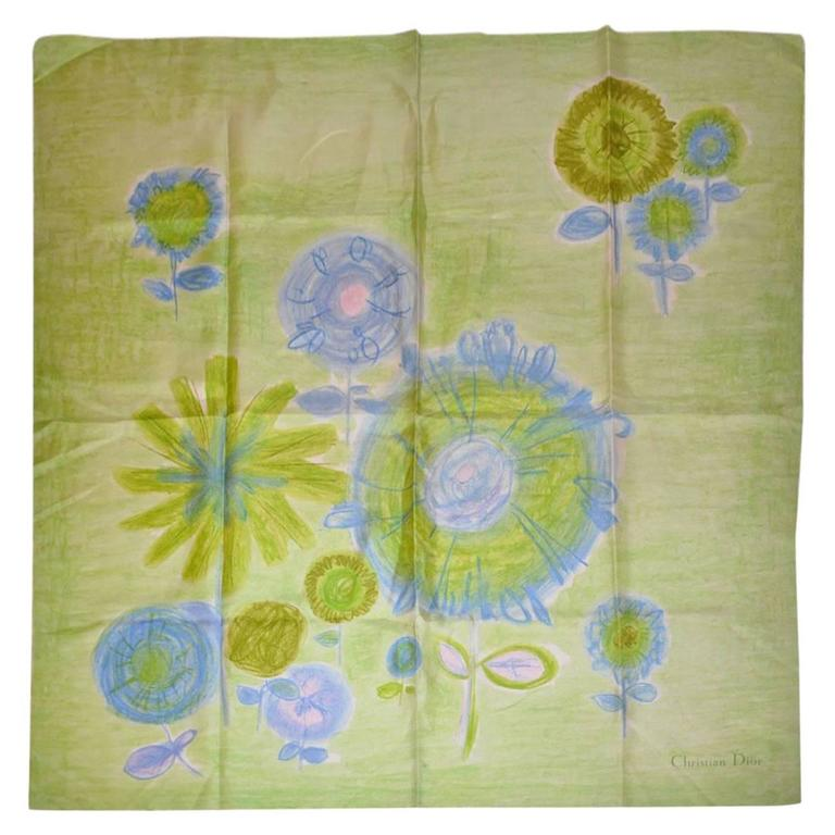Christian Dior Bold Green Abstract Floral Print Silk Scarf with Fringe