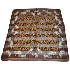 "Anne Klein Silk & Silk Chiffon ""Group of Leopards"" Scarf"