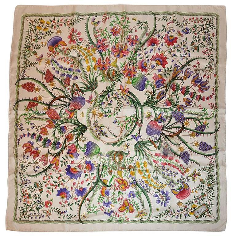 Gucci White Multi-Color Floral Print Silk Scarf