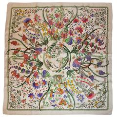 Gucci White Multi-Color Floral Print Silk Scarf
