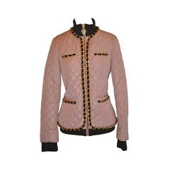Moschino Quilted Chain-Link Zipper Jacket