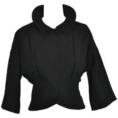 Moschino Black Cotton Domain Sleeve with Peplum Jacket