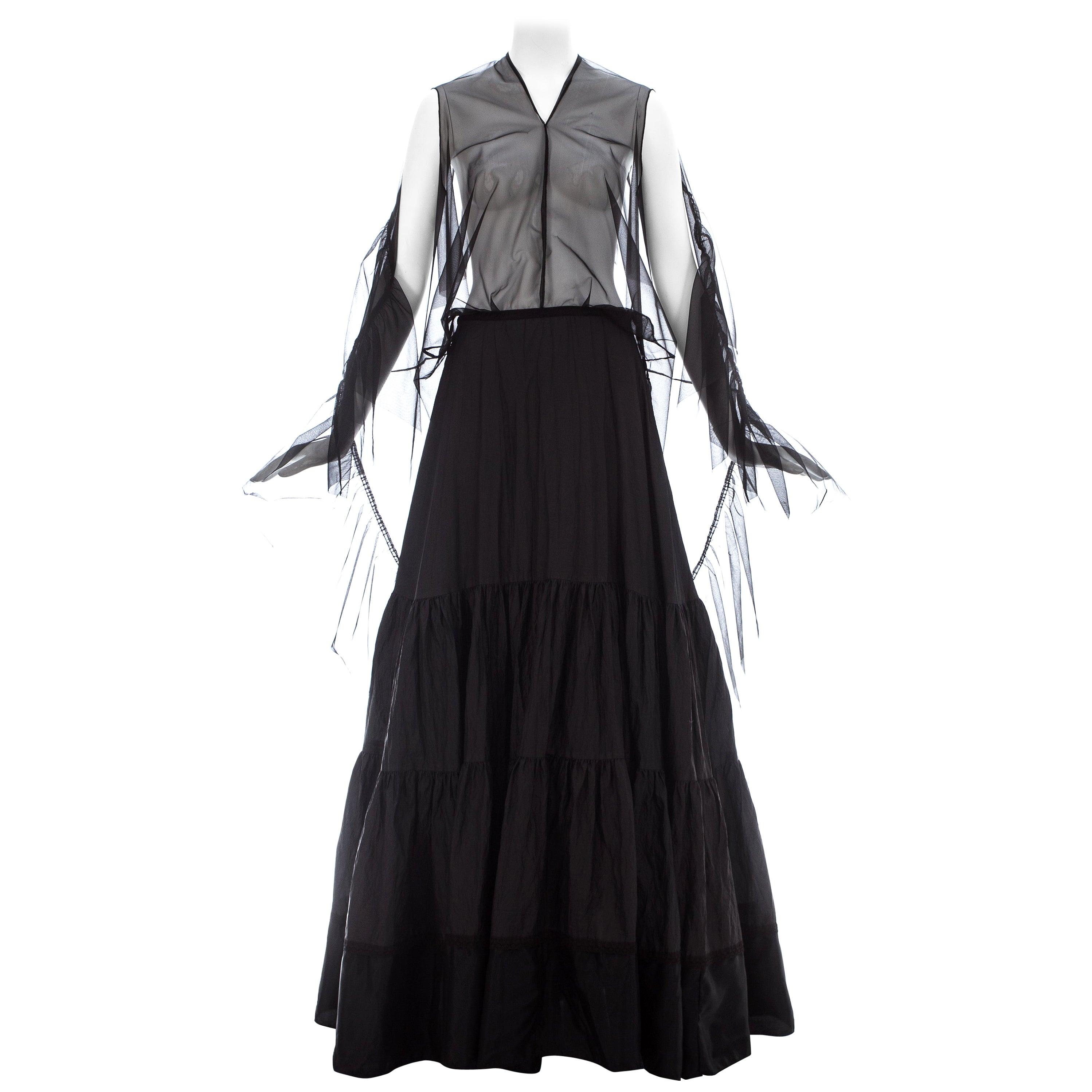 Martin Margiela black nylon maxi dress made with vintage petticoats, ss 2003