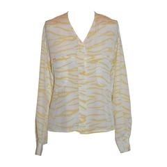 Louis Feraud Yellow & Cream Silk Blouse