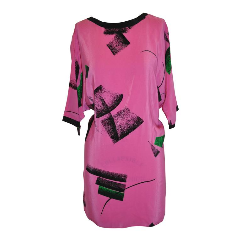 Flora Kung Bold Fuchsia And Black Abstract Silk Tunic For Sale