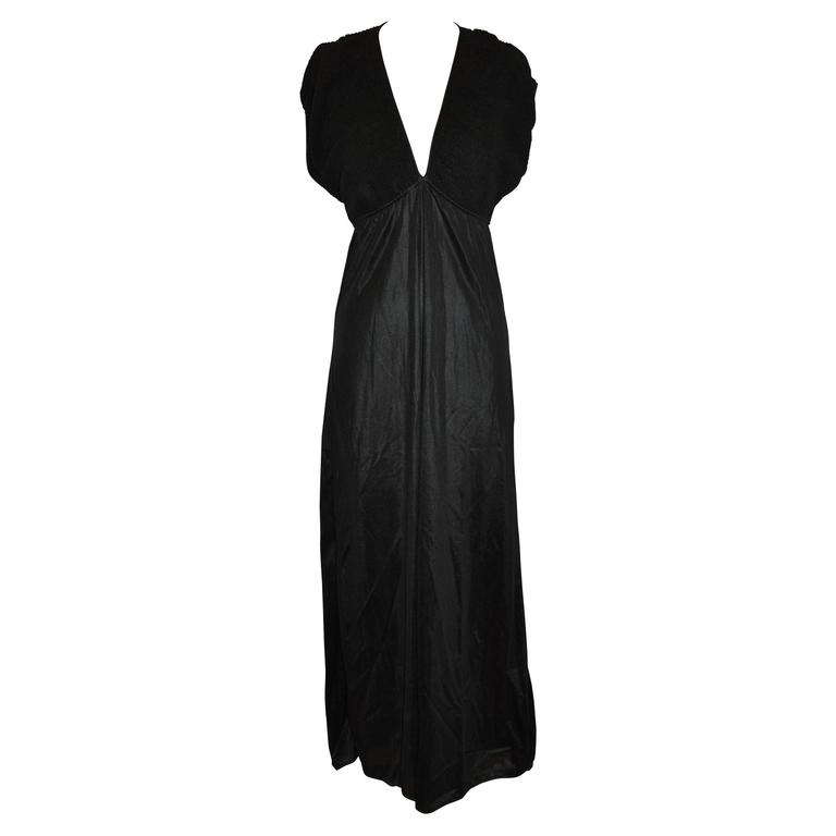 Black Empire-Style Stretch Lounge Maxi Dress