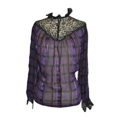 Multi Violet with Metallic Silk & Chiffon with Lace & Ruffle Top