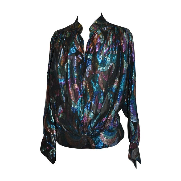 Multi-Color Silk Chiffon & Metallic Mandarin Collar Top