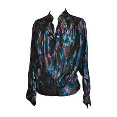 Multi-Color Silk Chiffon & Metallic Mandarin Collar Top