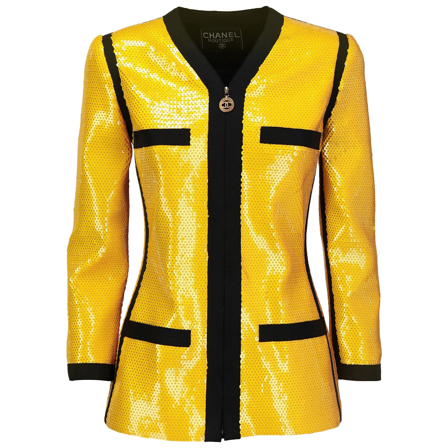 1990s Chanel Yellow Sequins Jacket