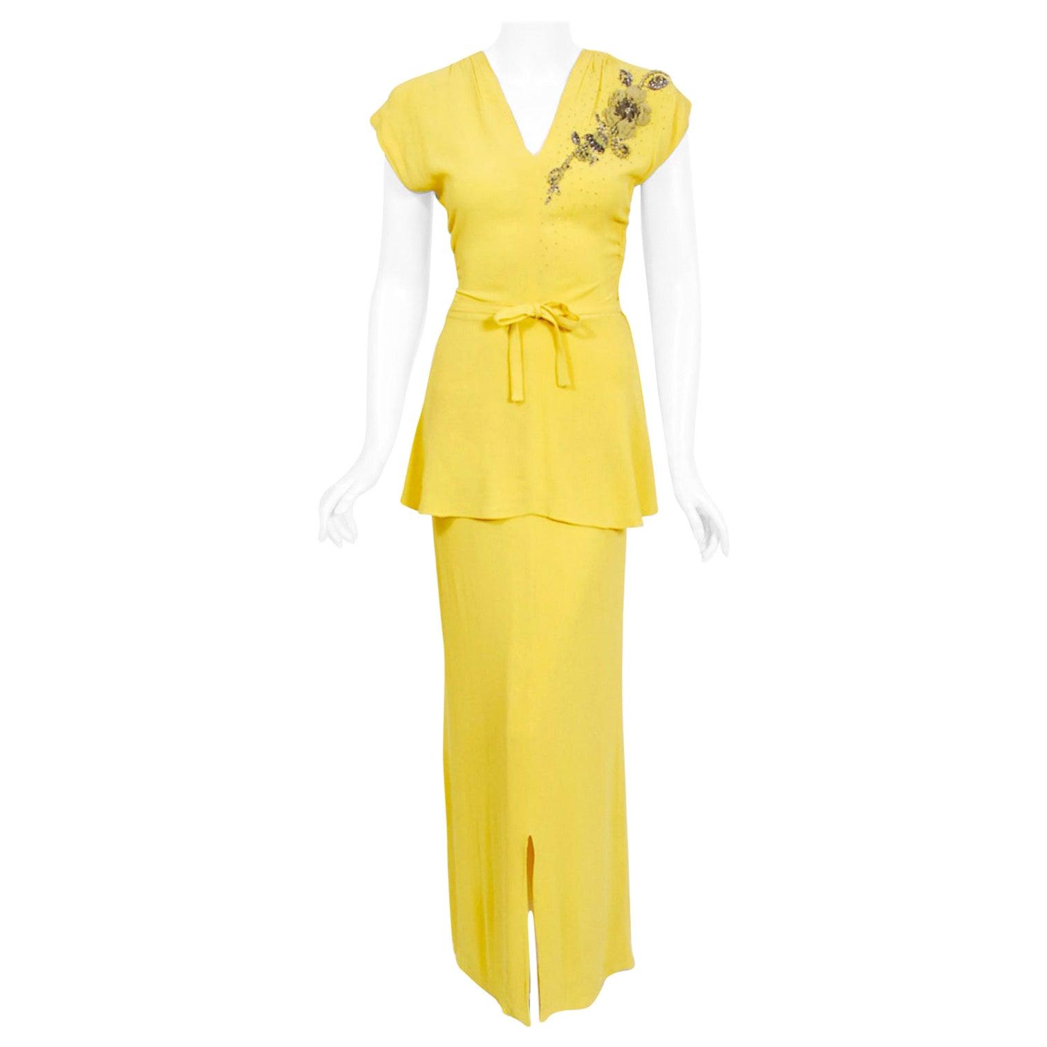 Vintage 1940's De Pinna of New York Lemon Yellow Rayon-Crepe Beaded Peplum Gown